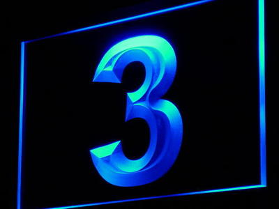 i872 3 Number Three Third Display Decor Neon Light Sign On/Off Swtich 20+ Colors 5 Sizes