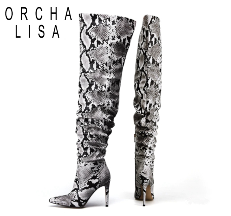 ORCHA LISA 2019 Sexy pleated over knee boots Women snake PU leather shoes pointed toe thin high heels booties Botte Femme