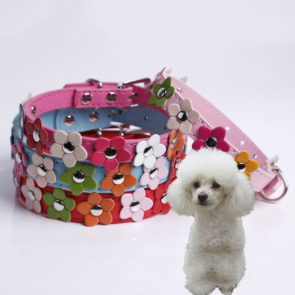 Online buy wholesale pink studded dog collar from china pink brand fashion flower dog cat collar pink studded leather buckle puppy pet neck strap cat collar dhlflorist Choice Image