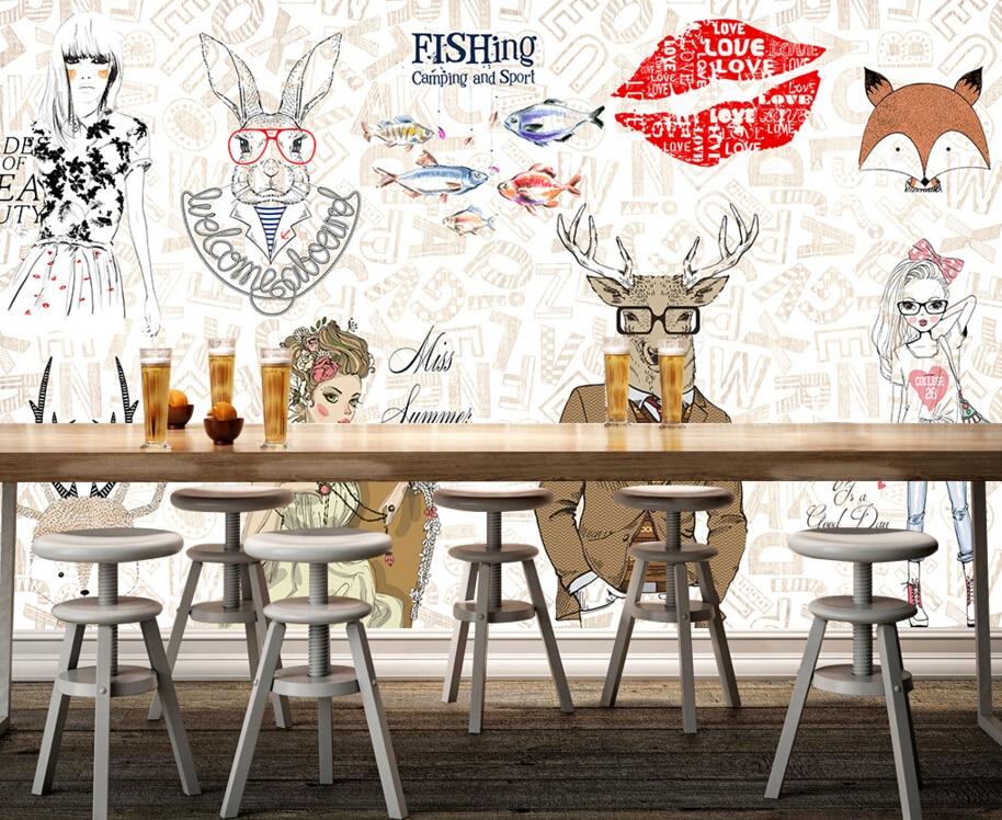 custom modern wallpaper fashion elements cartoon murals for the