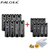 8Pcs PALO 1 2V 3000mAh AA Rechargeable Battery And 8Pcs 1100mAh AAA Rechargeable Batteries For Toys
