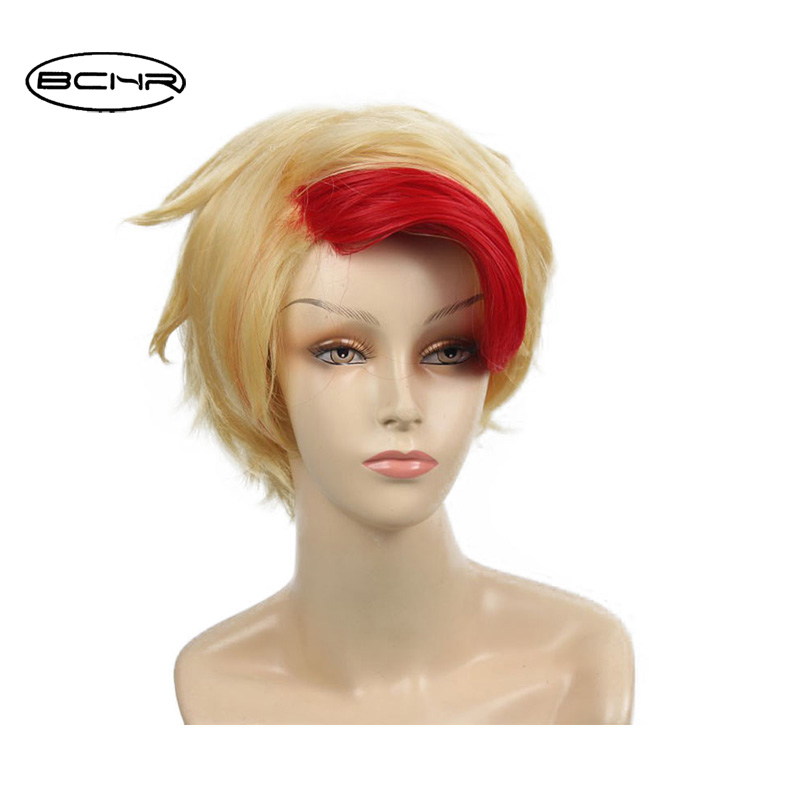 BCHR 6 Inch Short Straight Red and Gold Highlight Bang Heat Resistant Cosplay Available Unisex Hair Party Synthetic Wig