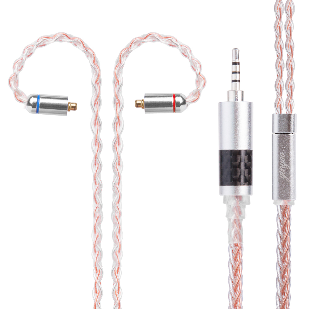 Yinyoo 8 Core Silver Plated Copper Cable 2.5/3.5/4.4mm Balanced Earphone Upgrade Cable With MMCX/2Pin yinyoo 4 core pure silver cable 2 5 3 5 4 4mm balanced earphone upgrade cable with mmcx 2pin