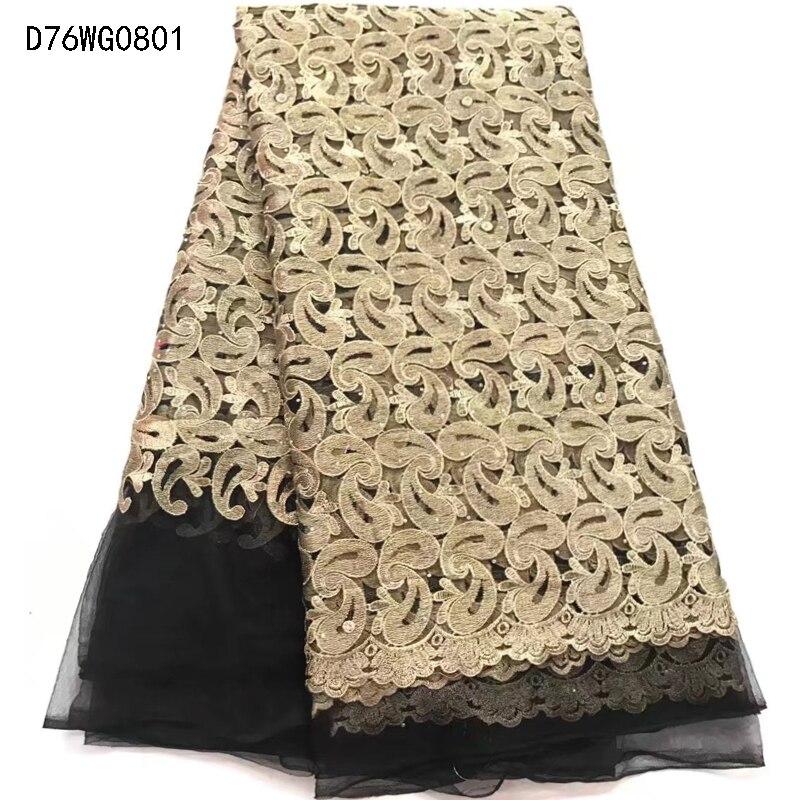 Новое поступление красивые французский Камни кружевная ткань, Модный черный Африканский золотые кружева вышитые ткани для свадьбы d75wg08