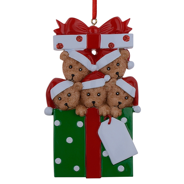 US $11 82 |Wholesale Resin Bear Family Of 5 Christmas Ornaments  Personalized Gifts That Can Write Your Own Name For Holiday And Home  Decor-in Pendant