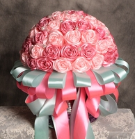 Hand Made 2017 Bridal Bouquets Rose Bouque Stunning Wedding Flowers Pink Red Bridesmaid Artificial 3D Rose