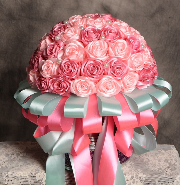 Hand Made 2017 Bridal Bouquets Silk Satin Ribbon Rose Wedding Flowers PinkRed Bridesmaid Artificial