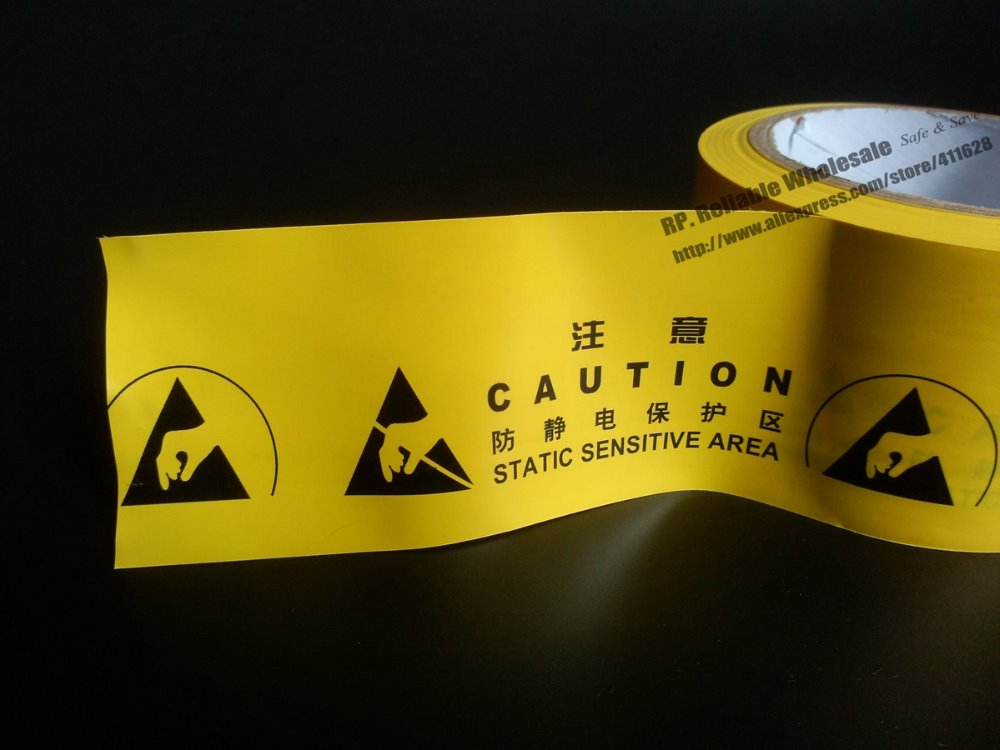 цены 1x 60mm* 20 Meters Adhesive ESD Caution Warning Tape, Ground Work Area Static Sensitive Attention Floor Tape