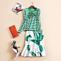 2016 Women's Autumn Catwalk Diamond Sequins Striped Knitted Long Sleeved Sweater Green Leaf Printed Fishtail Skirt Two Piece Set