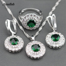 Ataullah 4 Color Beryl Crystal Wedding Jewelry Sets for Women Brides Earrings Ring Necklace Bridal Crystal Jewelry Sets JWS003