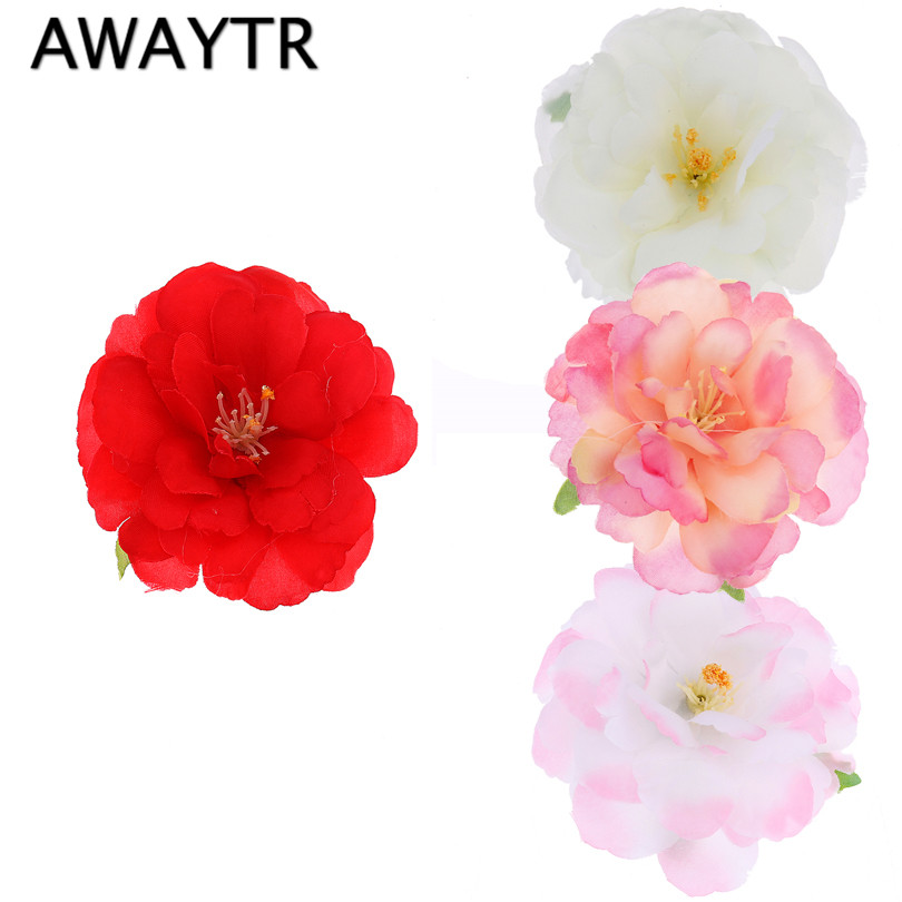 AWAYTR Women Girl Bohemia Bridal Peony Flower Hair Clip Hairpins Barrette Wedding Decoration Hair Accessories Beach Headwear haimeikang women girls bridal wedding crystal flower hairpins accessories headwear hair combs wholesale