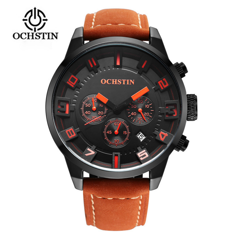 2017 New Watch Men Brand Ochstin Sport Men's Watches Leather Quartz Waterproof Chronograph Hour Clock Military Army Fashion weide new men quartz casual watch army military sports watch waterproof back light men watches alarm clock multiple time zone