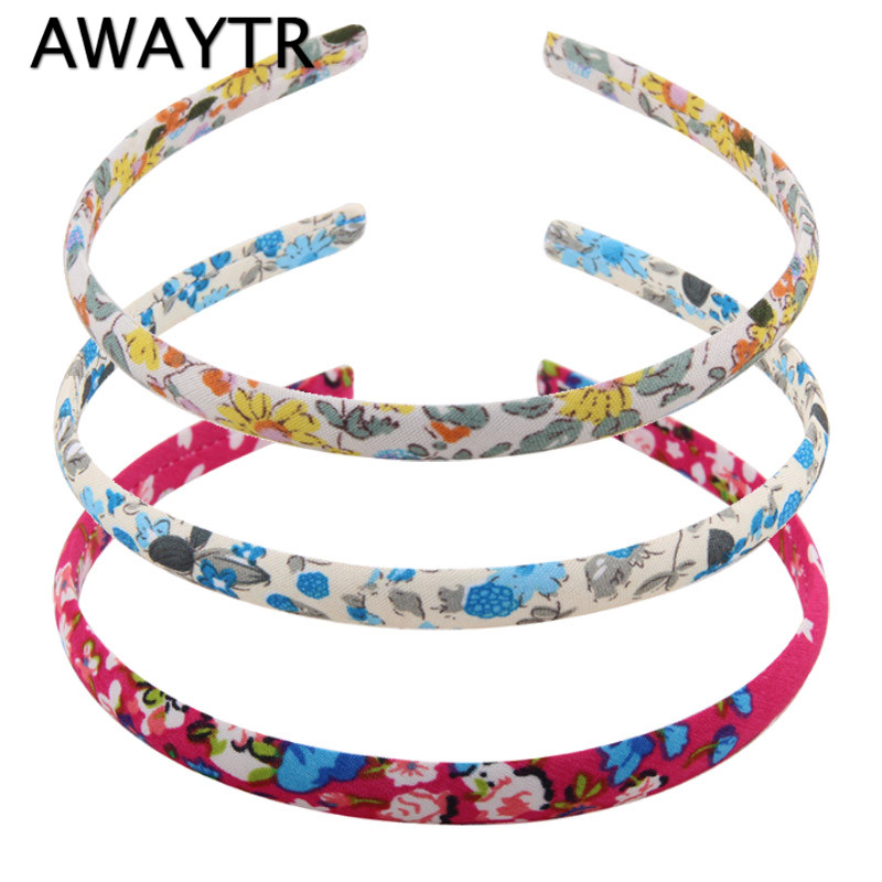 AWAYTR 1 PC Headbands Girls Hair Accessories 2017 New Korean Style Floral Print Cotton Hairbands Vintage Flower Hair Band 2017 new girls bowknot headbands korean style rabbit ears lady women fabric hairbands holders accessories fashion free shipping