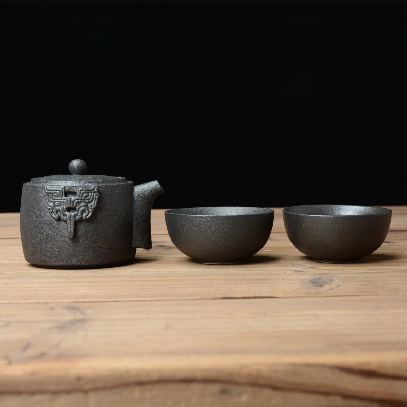 TANGPIN black crockery ceramic teapot gaiwan with 2 cups portable travel office tea set in Teaware Sets from Home Garden