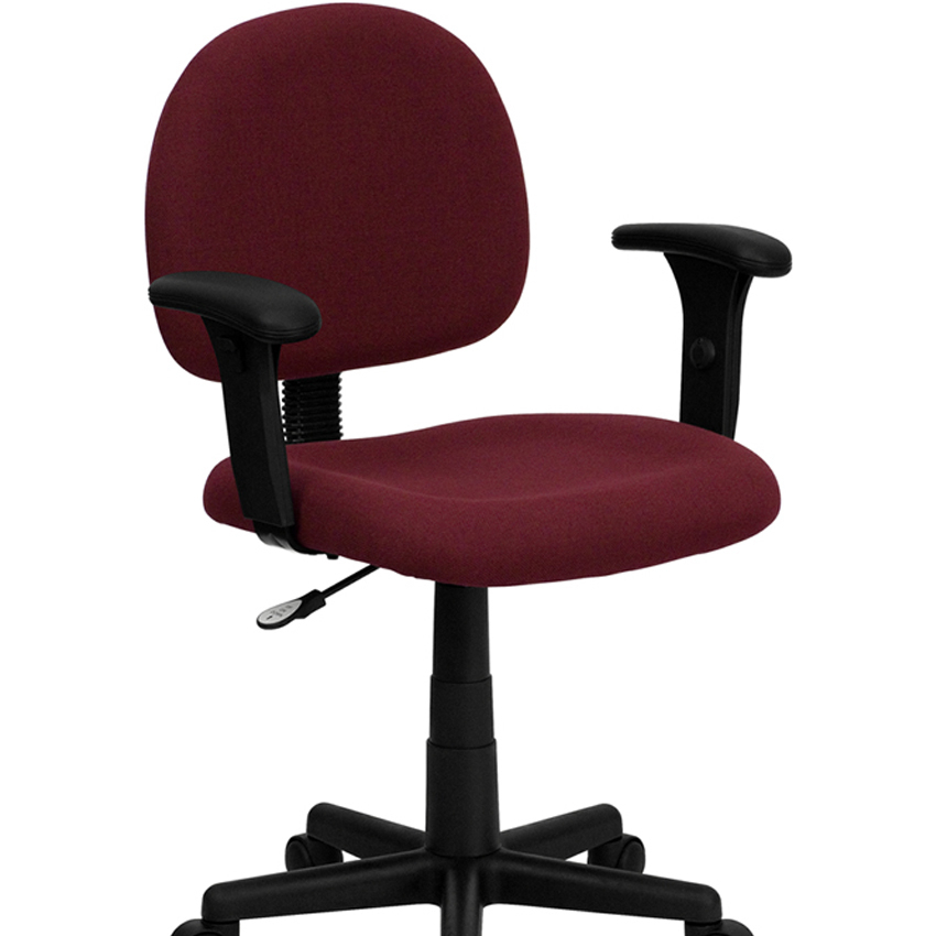 Flash Furniture Mid-Back Ergonomic Burgundy Fabric Task Chair with Adjustable Arms [863- ...