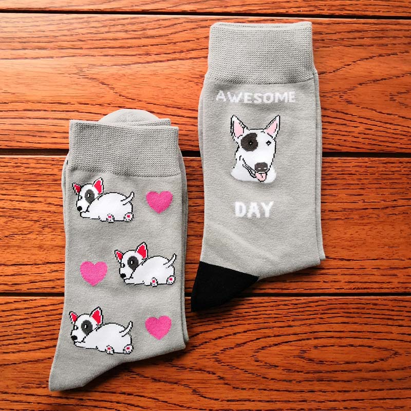 bull terrier socks with dog owner gift crazy cotton crew socks cute puppy with heart kawaii