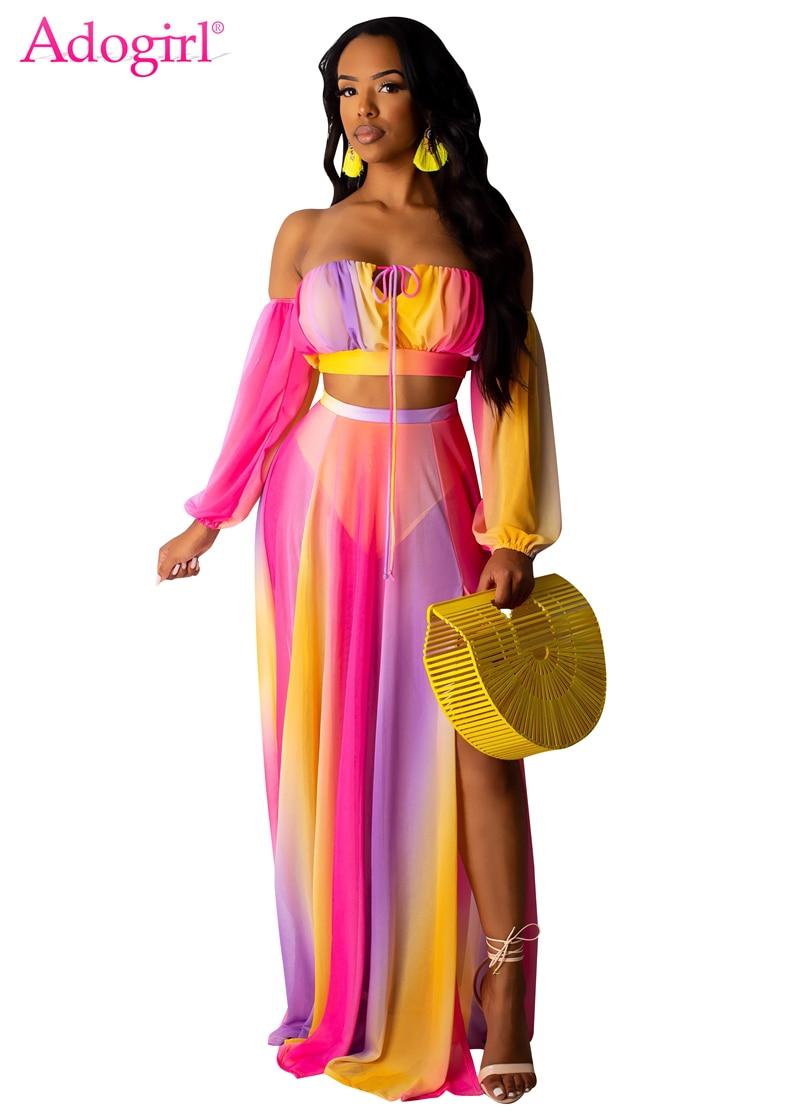 Adogirl Rainbow Stripe Print Chiffon Dress Women Two Piece Set Strapless Off Shoulder Long Sleeve Crop Top High Slit Maxi Skirt