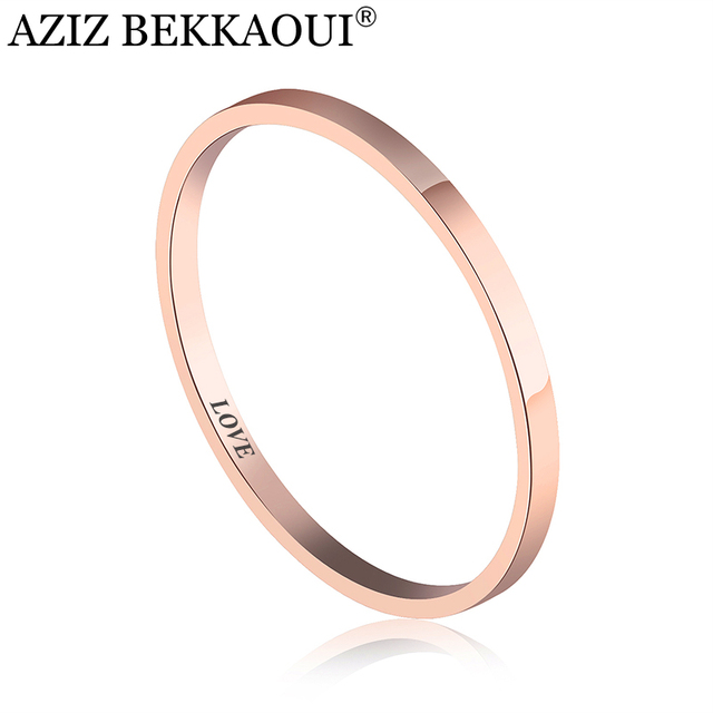 AZIZ BEKKAOUI 2017 simple engraved name ring for women titanium steel smooth rin