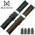Maikes nueva llegada de Men & Women cuero genuino correa de reloj y oculto mariposa empujó botón hebilla venda de reloj