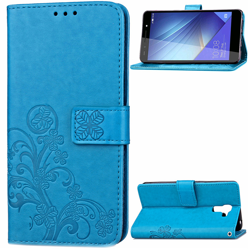 Lucky Clover Four Leaf Printed Leather Case Flip Cover For Huawei Honor 7 Enhanced Edition Honor 8 With Stand Card Slots