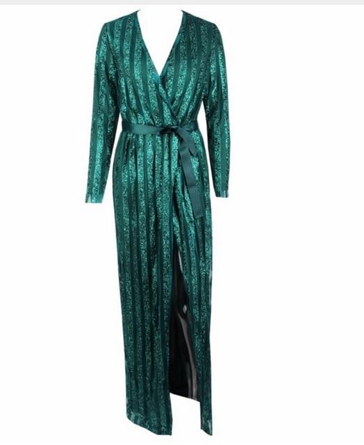 3117121028 Top Quality Sexy Mulheres Casaco Verde Sliver Ponto Aberto Lantejoulas  Longo Fino Trincheira