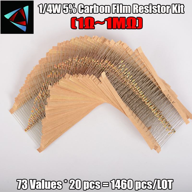 New 1/4W 5% 1R To 1 M 73 Values Arrival High Quality 1460 Pcs Carbon Film Resistor Kit Pack Mix Assortment