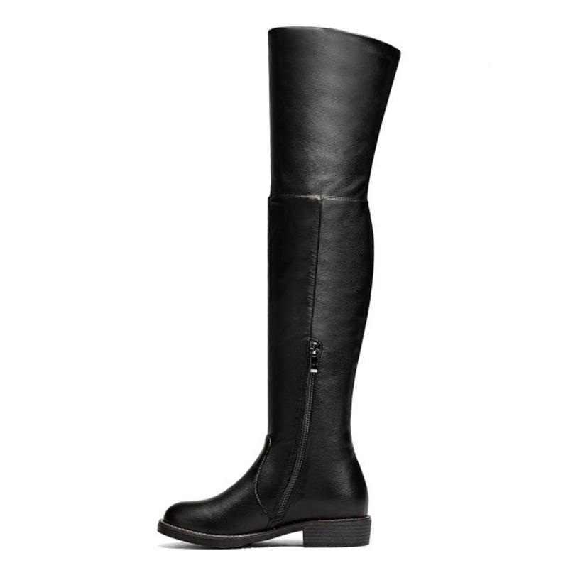 RizaBina Phụ Nữ Trên Khởi Động Đầu Gối Lông Mùa Đông Người Phụ Nữ Giày Thời Trang Ấm Vòng Căn Hộ Toe Khởi Động Hàng Ngày Mùa Đông Phụ Nữ Giày Kích Thước 34-43