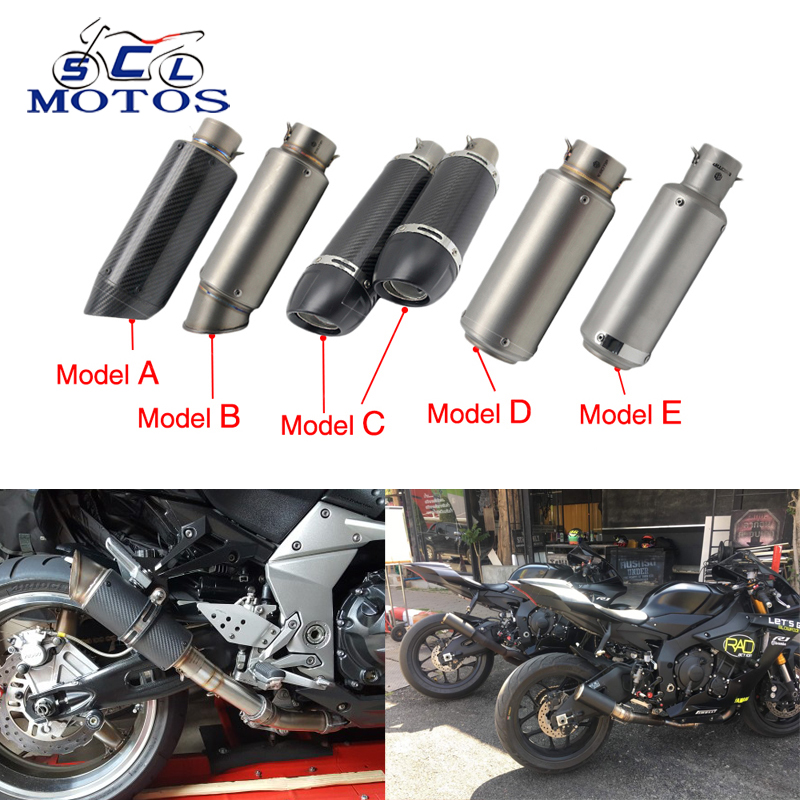Sclmotos- 51mm Universal Motorcycle Exhaust Muffler SC GP Escape Moto Exhaust Mufflers Carbon Fiber Exhaust Pipe NINJA GSXR Z800