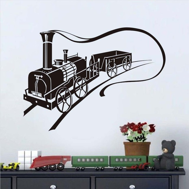 Art Design Pattern Silhouette Creative Train Wall Stickers For Kids Bedroom  Nursery Decorative Removable Wall Decals