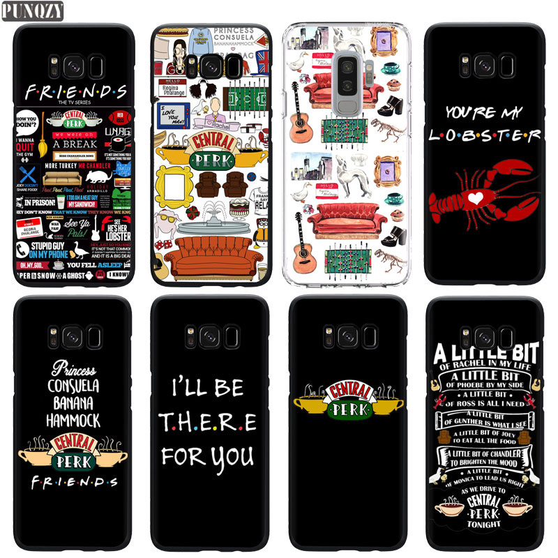 PUNQZY Friends TV Show CENTRAL PERK <font><b>Phone</b></font> <font><b>Case</b></font> For S10 S8 S9 Plus A50 A70 A30 S10E <font><b>S7</b></font> Super Quotes Soft TPU Black Silicone Cover image