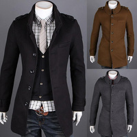 ZOGAA English style Wool Winter Men Coat Slim fit Overcoat men Double Stand Collar men Fashion clothes Long male Trench coat