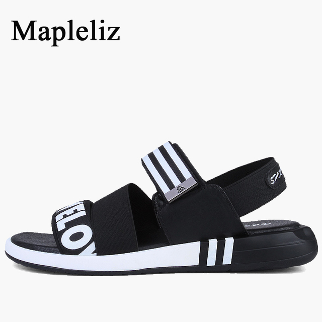 Mapleliz Brand Fashion Genuine Leather High Quality Men Shoes Slip-On Casual Sewing Print Flat Sandals For Men