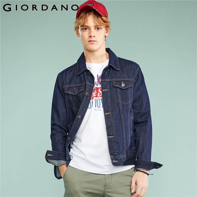 Giordano hommes veste en jean hommes lavé Denim Cargo veste poches Simple Jaqueta Masculina col rabattu veste à manches longues