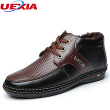 UEXIA Fashion Solid Warm Formal Winter Snow Men Boots Male Shoes Casual Thick Plush Men ankle Boots Father Shoes Botas Hombre