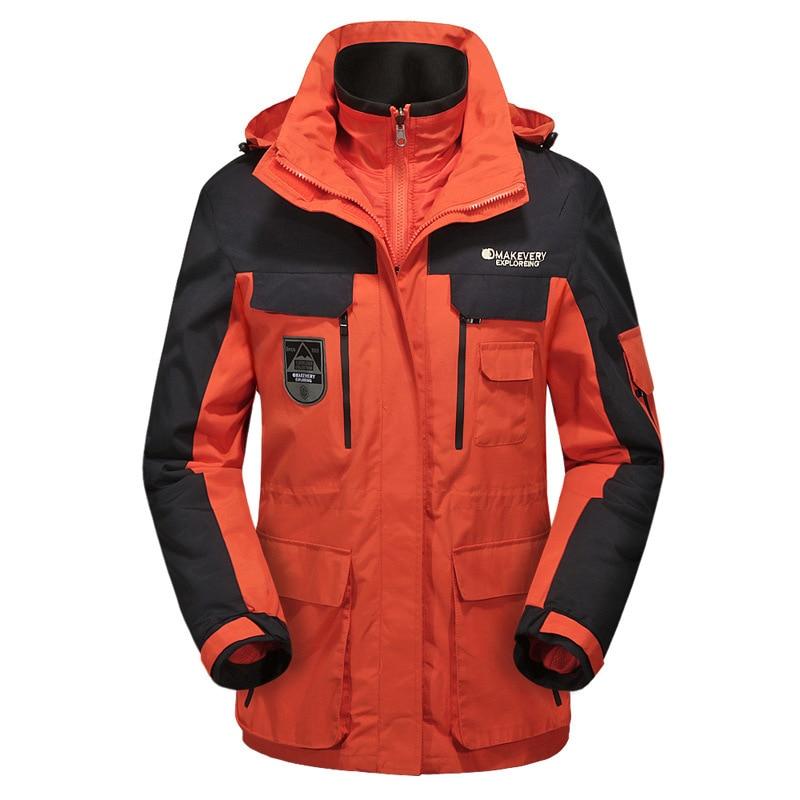 Outdoors Couple 3 In 1 Men Women Warm Jacket Camping Hiking Mountaineering Waterproof Windproof Clothes Cold-proof Windbreaker