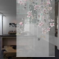 Hanging Screen Patterns Designs Window Partition Porch Door Curtain Translucent Living Room Hanging Curtain Soft Flowers