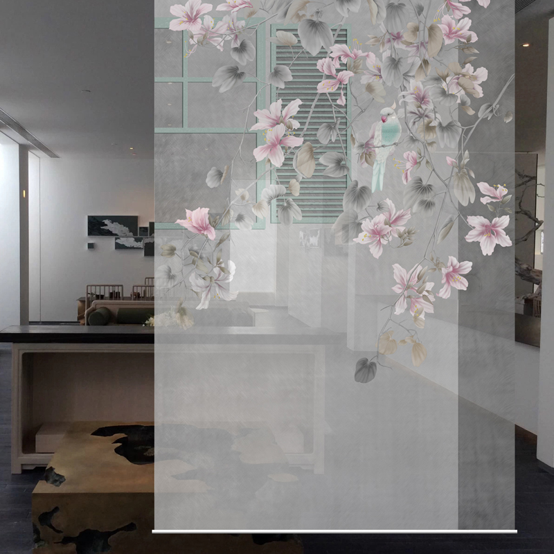 Hanging Screen Patterns Designs Window Partition Porch Door Curtain Translucent Living Room Hanging Curtain Soft Flowers Bird