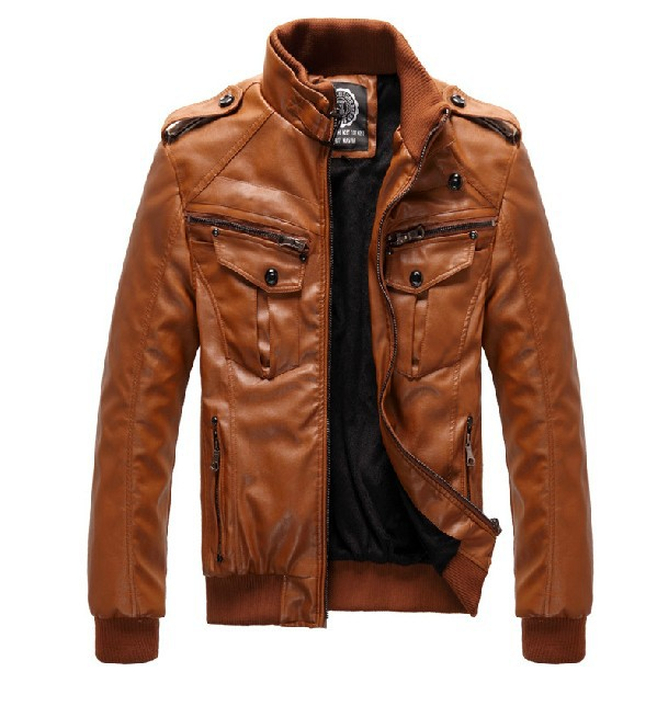 Для мужчин локомотив кожаная куртка пальто утолщение Мех животных верхняя одежда тонкий зима PU коричневый, M-XXXL