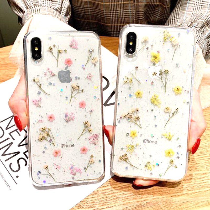 Real Dried Flower Case For iPhone 7 8 Plus XS Max XR XS X 6 6SCase Handmade Clear Soft TPU Fresh Flower Phone Back Cover Fundas (2)