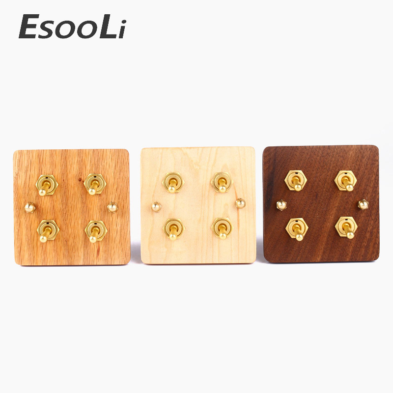 NEW Universal Standard 2017 Hand Made European Retro Switch 10A 110V-250V Wood Panel Brass Lever 4 Gang 1/2 Way Wall Switch