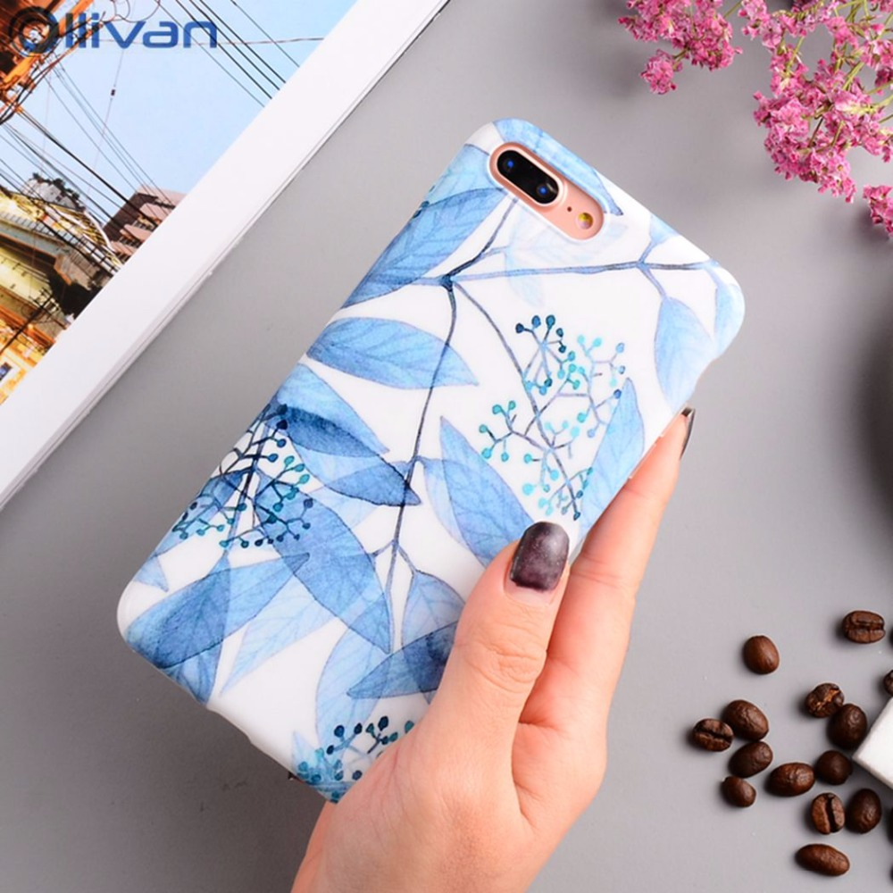 Galleria fotografica Ollivan girls phone case for iphone 6s case silicone Soft TPU leaf feather back cover for iphone 6s 6 7 8 plus X fundas coque