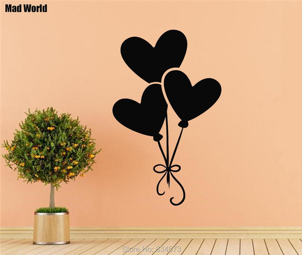 Mad World Heart Balloon Silhouette Wall Art Stickers Wall Decal Home ...