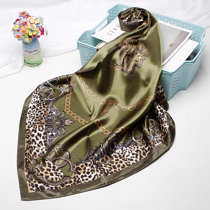 Luxury Brand Leopard Print Scarves For Women Silk Satin Hijab Scarf Female 90cm*90cm Fashion Square Shawl Scarfs For Ladies 2019