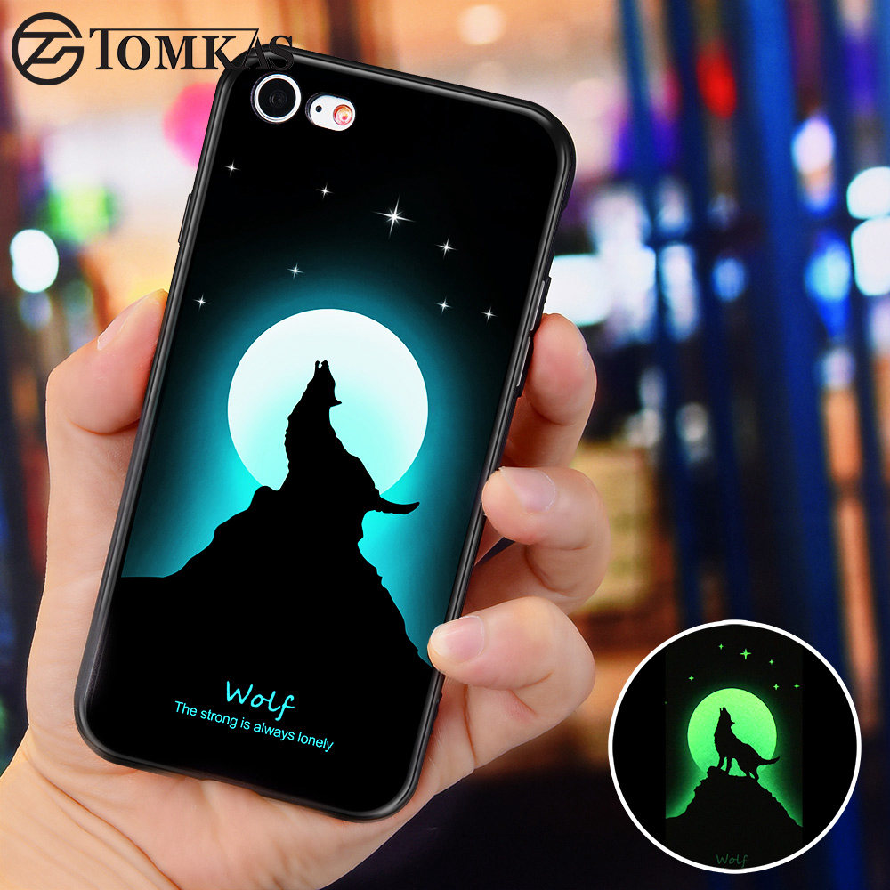 Galleria fotografica TOMKAS Luminous Cases For iPhone 7 Case Soft TPU Silicone Wolf Patterned Coque Phone Case For iPhone 6 6s 7 8 Plus X Back Cover