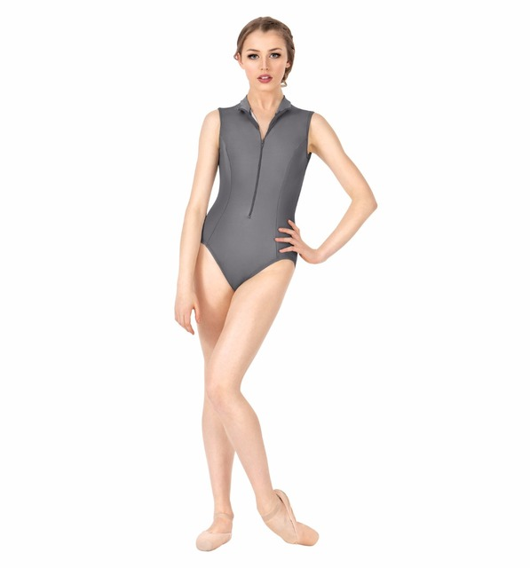 4355c9e8e279 Womens Zip Front Tank Leotard Gymnastics Girls Mock Neck Leotards ...