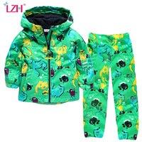 LZH דינוזאור בני ילדי בגדי 2018 ילדי ילדי חורף בגדי סתיו בני תלבושת חליפת ספורט מעיל + מכנסיים בגדי בנות סטים