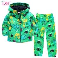 LZH Kinderen Jongens Kleding 2018 Herfst Winter Kinderkleding Dinosaurus Jas + Broek Outfit Jongens Sport Pak Voor Meisjes Kleding Sets