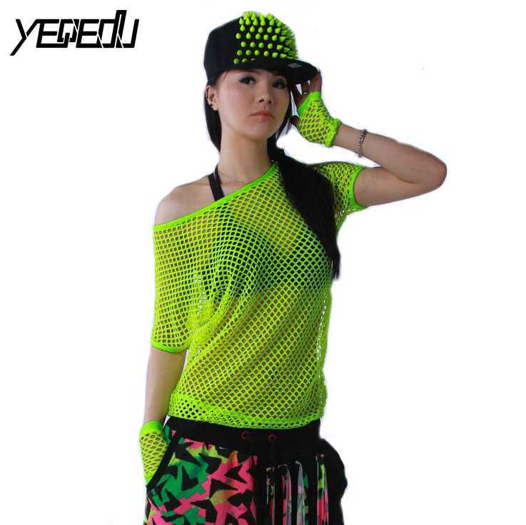 #4202 2018 Summer Neon t shirts Hip hop Women Mesh top Outwear Stage dancewear women Neon clothes Sexy Fashion Punk Harajuku