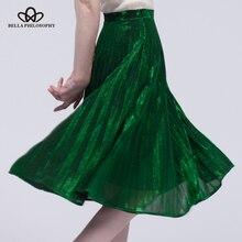 Весна-лето 2016 новый металл цвет плиссированная юбка женская повседневная юбка длиной до колена женские Цвет зеленый, синий красный женщин юбка с завышенной талией