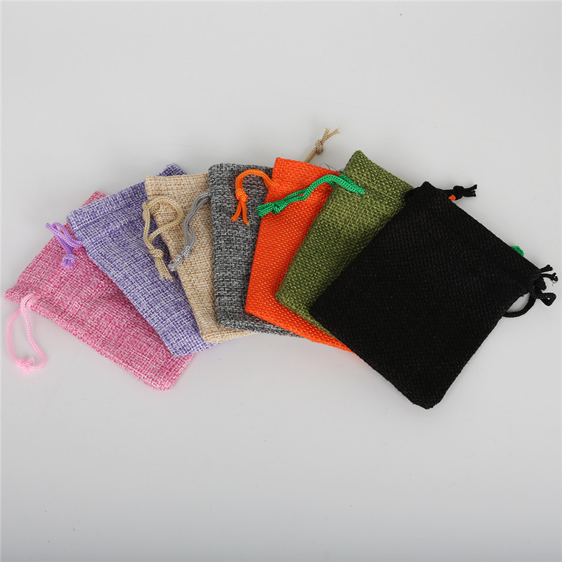 7x9mm 5 Pcs/lots High Quality Vintage Natural Burlap Gift Bags Jute Gift Bags Jewelry Pouches Jewellery Packaging Bags